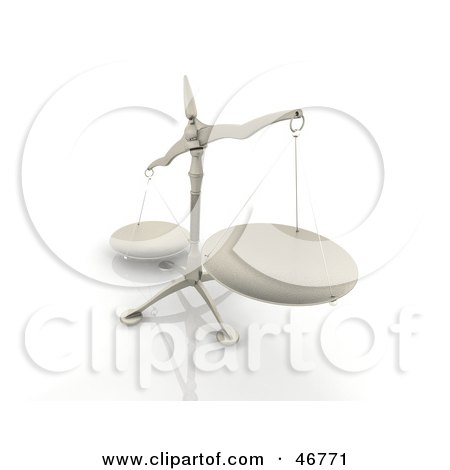 Royalty-Free (RF) Clipart Illustration of a Tipped 3d Scales Of Justice With A Tray In The Foreground by KJ Pargeter