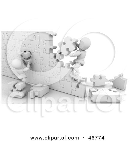 Royalty-Free (RF) Clipart Illustration of 3d White Characters Building A Puzzle Wall by KJ Pargeter