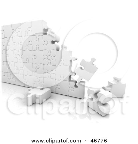 Royalty-Free (RF) Clipart Illustration of 3d White Puzzle Wall Nearly Complete by KJ Pargeter