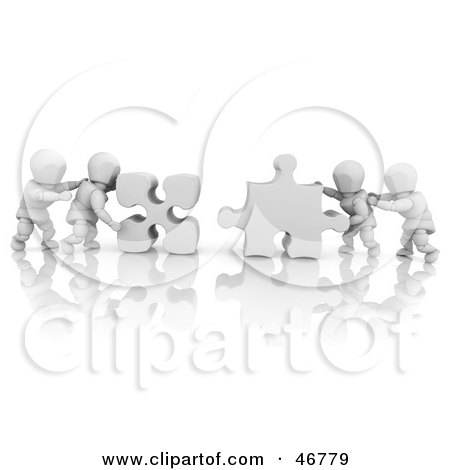 Royalty-Free (RF) Clipart Illustration of 3d White Characters Pushing Together Puzzle Pieces To Solve A Problem by KJ Pargeter