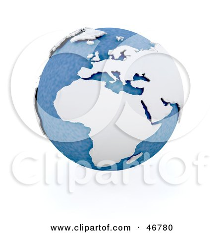 Royalty-Free (RF) Clipart Illustration of a Blue Globe Featuring Africa In White And 3d by KJ Pargeter