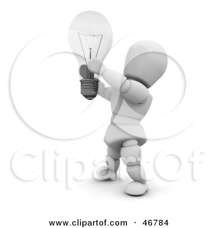 Royalty-Free (RF) Clipart Illustration of a 3d White Character Inspired With A Creative Idea By A Light Bulb by KJ Pargeter