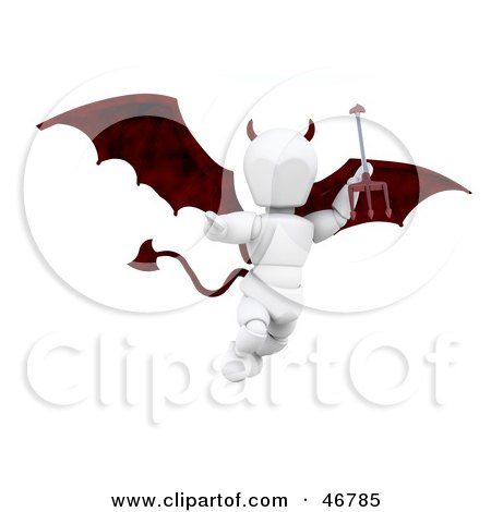 Royalty-Free (RF) Clipart Illustration of a 3d White Character Devil Flying And Carrying A Trident by KJ Pargeter