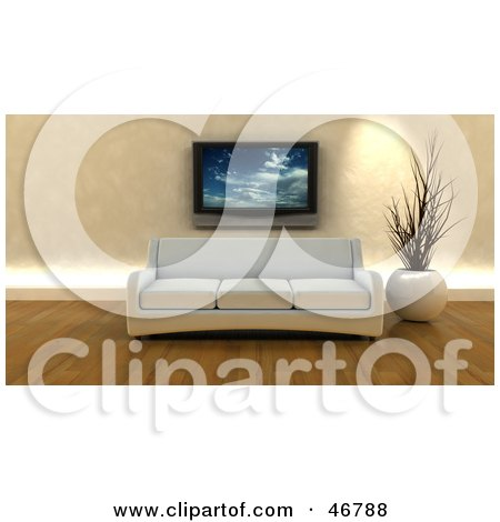 Royalty-Free (RF) Clipart Illustration of a White 3d Sofa And Vase Under A Plasma Tv In A Modern Living Room by KJ Pargeter