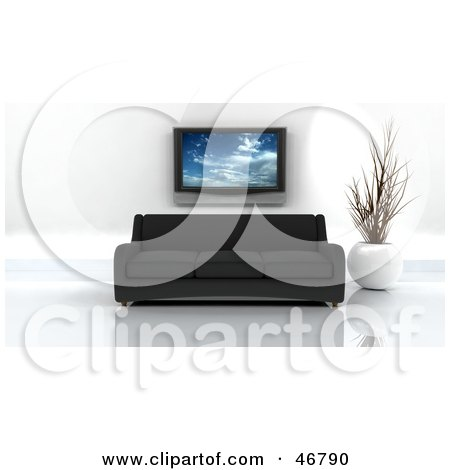 Royalty-Free (RF) Clipart Illustration of a Black 3d Sofa And Vase Under A Plasma Tv In A Modern Living Room by KJ Pargeter