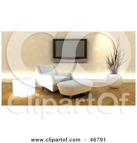 Royalty-Free (RF) Clipart Illustration of a Modern White 3d Chair And Ottoman Under A Wall Mounted Plasma Tv by KJ Pargeter
