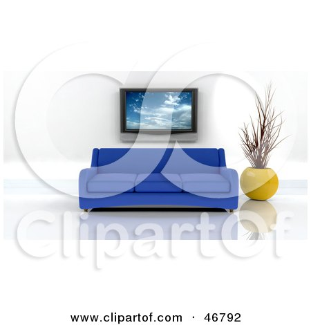 Royalty-Free (RF) Clipart Illustration of a Blue 3d Sofa And Vase Under A Plasma Tv In A Modern Living Room by KJ Pargeter