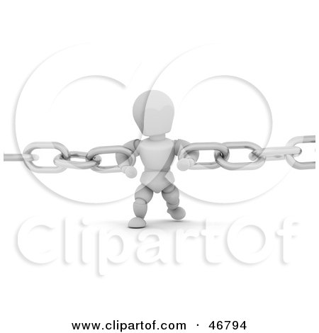 Royalty-Free (RF) Clipart Illustration of a 3d White Character Holding Together Two Chains by KJ Pargeter