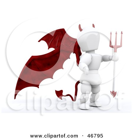 Royalty-Free (RF) Clipart Illustration of a 3d White Character Devil With Red Wings, A Tail And A Trident by KJ Pargeter
