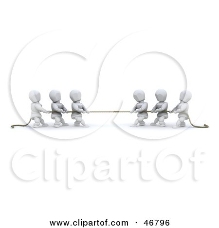 Royalty-Free (RF) Clipart Illustration of Opposing Teams Of 3d White Characters Playing A Game Of Tug Of War by KJ Pargeter