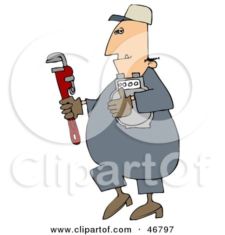 Royalty-Free (RF) Clipart Illustration of a Gas Man Carrying A Meter And A Wrench by djart