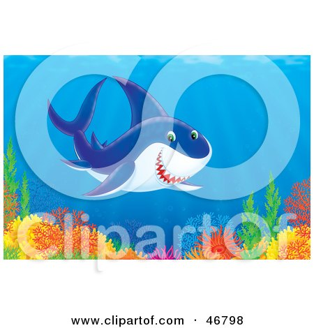 Royalty-Free (RF) Clipart Illustration of a Friendly Shark Swimming Over A Colorful Ocean Reef by Alex Bannykh
