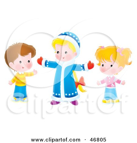 Royalty-Free (RF) Clipart Illustration of Children Holding Their Arms Open by Alex Bannykh