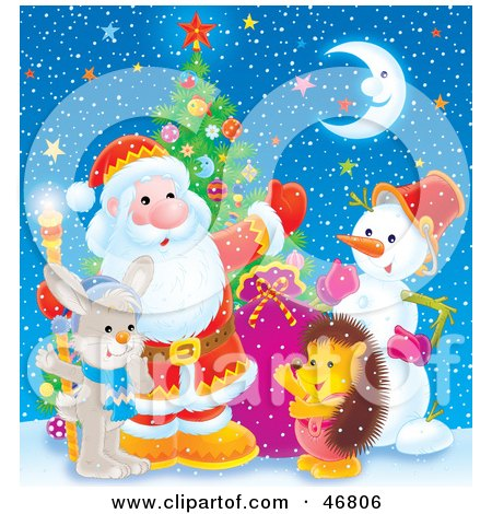 Royalty-Free (RF) Clipart Illustration of a Hedgehog, Snowman And Bunny Waving With Santa On A Snowy And Starry Night by Alex Bannykh