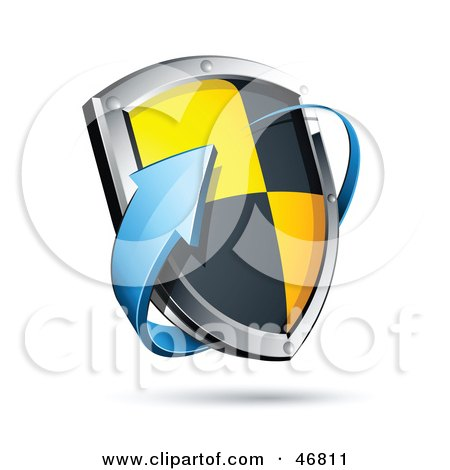 Royalty-Free (RF) Clipart Illustration of a Blue Arrow Circling A Black And Yellow Protective Shield by beboy