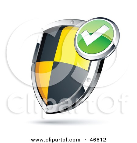Royalty-Free (RF) Clipart Illustration of a Check Mark Black And Yellow Protective Shield by beboy