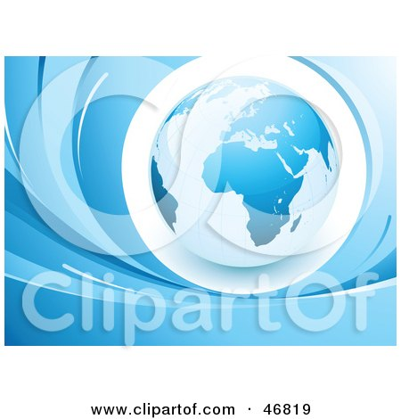 Royalty-Free (RF) Clipart Illustration of a Blue Globe Featuring Africa And Europe, Surrounded By Blue Waves by beboy