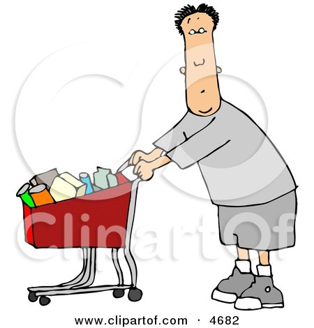 Man Pushing a Shopping Cart Filled with Food in a Grocery Store Clipart by djart