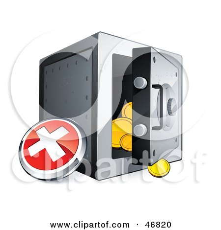 Red X Button Beside An Open Safe Posters, Art Prints
