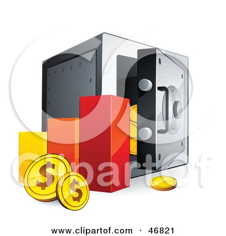 Royalty-Free (RF) Clipart Illustration of a Bar Graph With Dollar Coins Beside A Safe by beboy