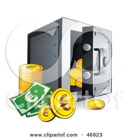Royalty-Free (RF) Clipart Illustration of Euro Coins And Cash By An Open Safe by beboy