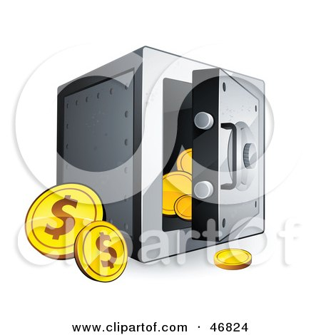 Royalty-Free (RF) Clipart Illustration of Dollar Coins Beside An Open Safe by beboy