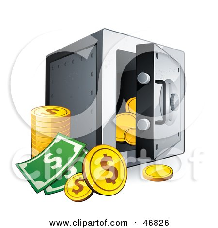 Dollar Coins And Cash By An Open Safe Posters, Art Prints