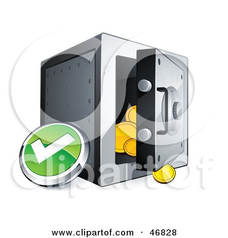 Green Check Mark Button Beside An Open Safe Posters, Art Prints