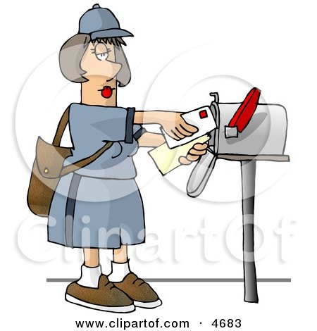 Female Mail Carrier Delivering Mail Into a Mailbox Posters, Art Prints