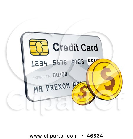 Royalty-Free (RF) Clipart Illustration of a Credit Card With American Change by beboy