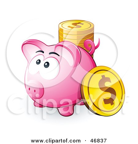 Royalty-Free (RF) Clipart Illustration of a Pink Piggy Bank With A Stack Of Dollar Coins by beboy