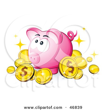 Royalty-Free (RF) Clipart Illustration of a Pink Piggy Bank Surrounded By Dollar Coins by beboy