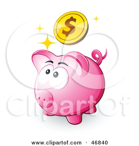 Royalty-Free (RF) Clipart Illustration of a Pink Piggy Bank Looking Up At A Dollar Coin by beboy