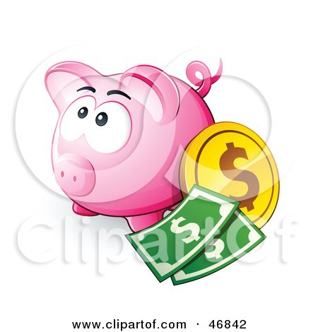 Royalty-Free (RF) Clipart Illustration of a Pink Piggy Bank With Cash And Coins by beboy