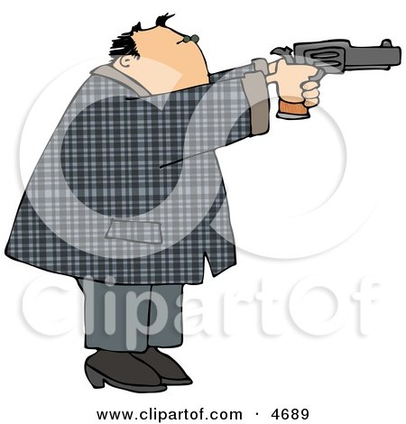 Convicted Male Criminal Pointing and Shooting a Gun Clipart by djart
