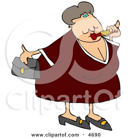 Obese Woman Putting On Lipstick and Going Out On a Blind Date Clipart by djart