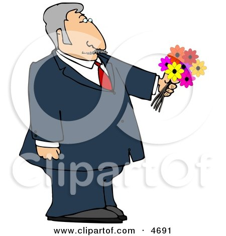 Dressed Up Elderly Man Holding a Bouquet of Flowers For His Blind Date Clipart by djart