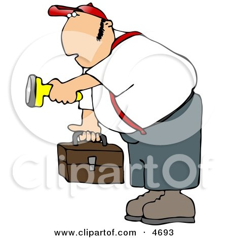 Male Worker Carrying a Toolbox and Pointing a Flashlight in the Dark Posters, Art Prints
