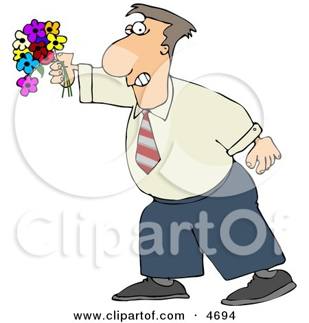 Man Holding a Colorful Bouquet of Flowers with a Grin On His Face Clipart by djart