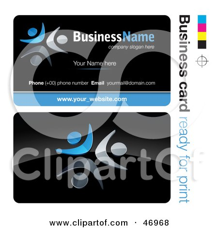 Royalty-Free (RF) Clipart Illustration of a Pre-Made Blue Dancer Business Card Design by beboy