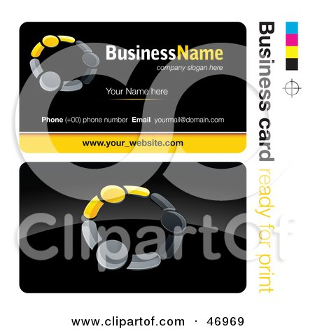 Royalty-Free (RF) Clipart Illustration of a Pre-Made Yellow Teamwork Business Card Design by beboy