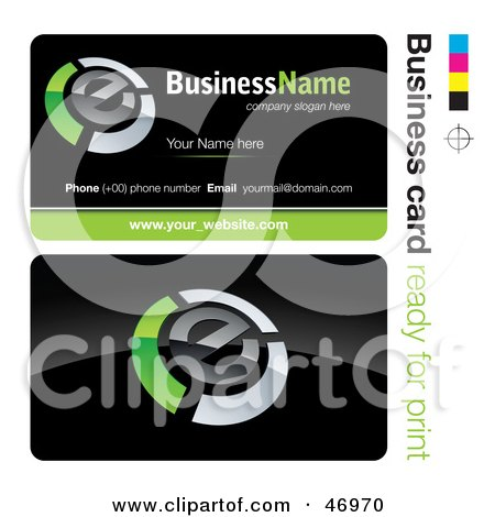 Royalty-Free (RF) Clipart Illustration of a Pre-Made Green E Business Card Design by beboy