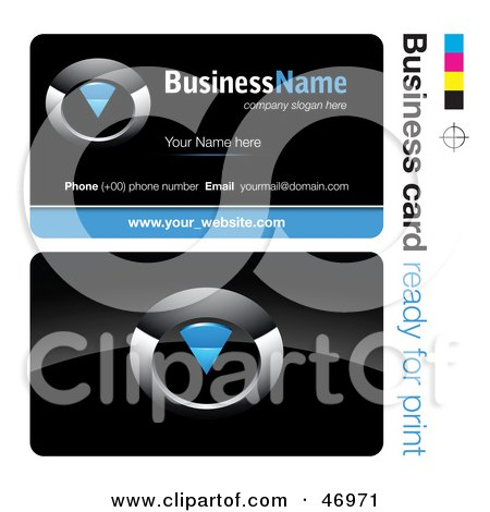 Royalty-Free (RF) Clipart Illustration of a Pre-Made Blue Timer Business Card Design by beboy