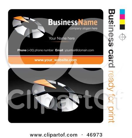 Royalty-Free (RF) Clipart Illustration of a Pre-Made Orange Timer Business Card Design by beboy
