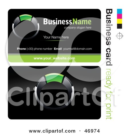 Royalty-Free (RF) Clipart Illustration of a Pre-Made Green Ring Business Card Design by beboy