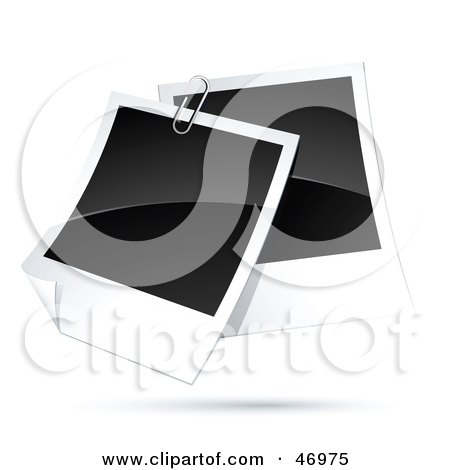 Royalty-Free (RF) Clipart Illustration of Two Blank Polaroids Paperclipped Together by beboy