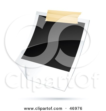 Royalty-Free (RF) Clipart Illustration of a Blank Polaroid Picture Taped To A Wall by beboy