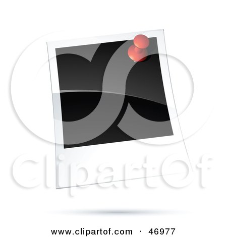 Royalty-Free (RF) Clipart Illustration of a Blank Polaroid Picture Tacked To A Wall by beboy