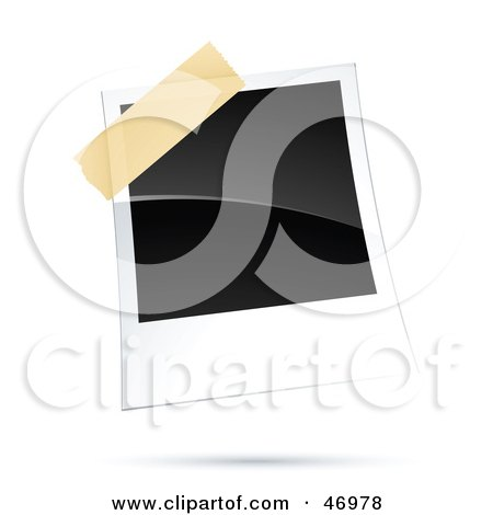 Royalty-Free (RF) Clipart Illustration of a Blank Polaroid Picture Taped To A Board by beboy