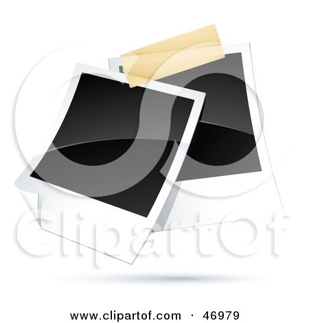 Royalty-Free (RF) Clipart Illustration of Two Blank Polaroid Pictures Taped Together by beboy
